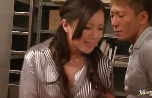 Delectable busty mature Rin Aizawa got super excited when bf started playing with her huge milk jugs