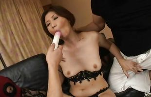 Dishy busty Nanako Yoshioka and a fellow she is in love with are fucking like crazy