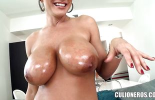Tasty brunette perfection Lisa Ann rides a massive cock wildly
