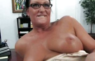 Dissolute Holly with curvy natural tits whimpers while being intensely penetrated