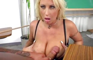 Tasty mature floozy Candy Manson bends over to get her needy cunt fingered