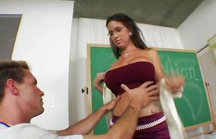 Swingeing latina brunette mature Angel Rain needs a dick to satisfy her