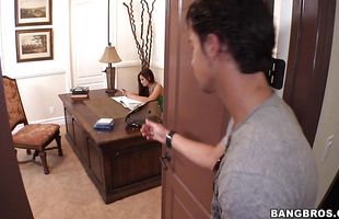 Appealing brunette Ryder Skye is enjoying while lover is fucking her brains out