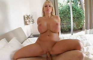 Succulent blonde mature Harmony Bliss with curvy tits and she loves to moan loud and clear