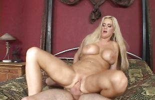 Exquisite mature blonde Rhyse Richards with massive natural tits is hungry for fat meaty bazooka