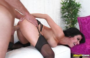 Horny busty cougar Veronica Avluv with wet lovebox receives a strong shaft