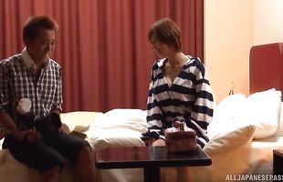 Appealing mature gf Akari Asahina's big butt shakes when she is roughly doggy styled