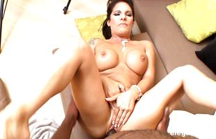 Dishy mature darling Daisy Rock with huge tits has her tight juice vag stretched to the limit
