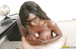 Adorable ebony Diamond Jackson with great tits whimpers while being hammered