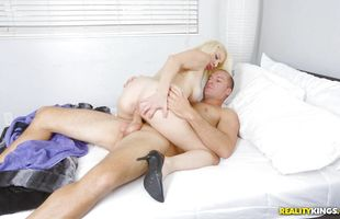 Sinful busty blonde girlfriend Sunny makes the hard dong wet and ready for fucking