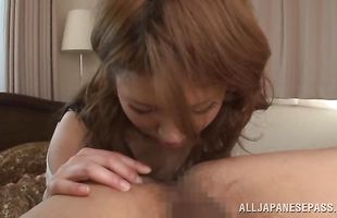 Insatiable sweetie Ren Aizawa wanted to suck buddy's hard lovestick