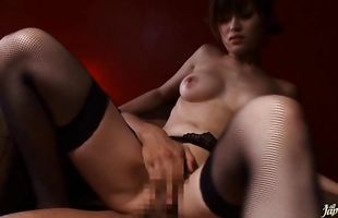 Wicked Erina Shirase with huge tits 's fishnet covered body squirms on a pulsating dangler