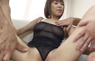 Ravishing busty mature lady Jun Kusanagi and bf are home alone after a long time and want to have sex