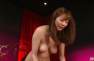 Appetizing girlie Yuma Asami with big tits jumps on the long boner