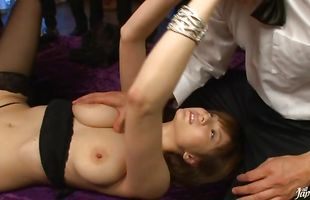 Swingeing hottie Yuma Asami is in heaven while riding lad's stiff wang