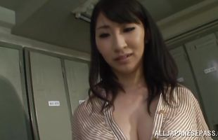 Shameless mature hottie Marina Shiina is viciously doggy styled by a thick penis