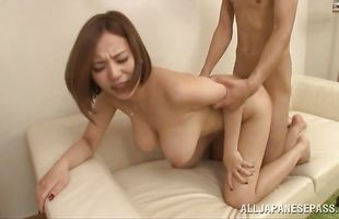 Stunning housewife Ruri Saijoh takes pleasure stroking a thick fang
