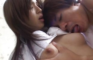 Admirable babe Mai Hanano gets fiercely spooned by playmate