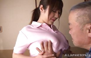 Mature honey Ran Niiyama rides up huge slim jim