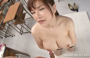 Playmate performs nice cunnilingus and then drills mom Anri Okita with big tits 's cooter