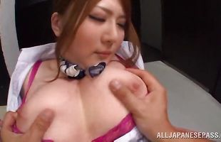 Voluptuous busty Momoka Nishina knows that sex with her playmate can only do good for her
