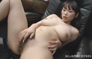 Dissolute Akane Yoshinaga strips and slobbers over a male's dink