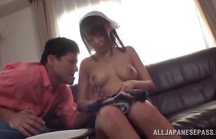 Overwhelming Mao Hamasaki moans loudly while being fucked pretty rough