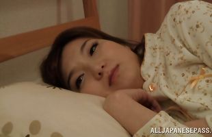 Nasty mature darling Mio Takahashi likes to have her fellow's meaty sausage for breakfast