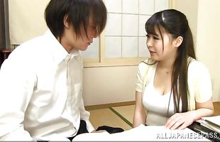 Cute mature sweetheart Satomi Nagase has her mouth and cooter full of big prick