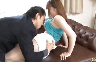 Savory mature floozy Momoka Nishina with impressive tits receives a huge fuck stick in her putz