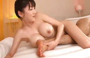 Awesome bombshell Yuuri Himeno's skinny cunt barely accommodates a thick and long boner