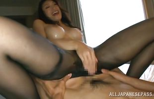 Passionate cutie Reiko Kobayakawa craves badly for a juicy long sword