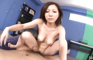 Inviting mature Ayami with firm tits gets her beaver fully treated