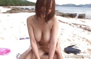 Lovable mature Ruri Saijoh sucks a lever and gets doggy styled