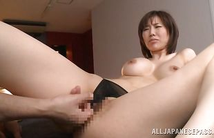 Mom Nanako Mori is horny and she enjoys sucking a big boner