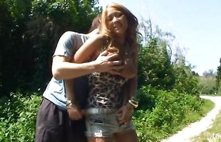 Marvelous blonde mature Erika strokes and wanks the buddy's schlong