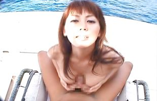 Hot mature cutie Honoka with great tits loves to wrap her amazing tits around chili dog