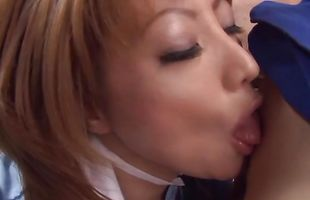 Gorgeous busty Reiko Kagami is gently sucking dude's boner because she likes to keep him satisfied