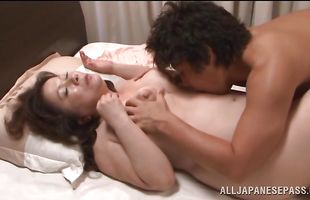 Tempting Chizuru Iwasaki with firm tits got very excited so she had to ask dude to come and fuck her hard