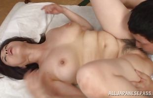 Tasty mature lady Yuuko Kuremachi with big tits blows a big pecker before being impaled on it