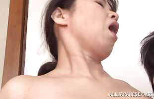 Lascivious diva Yuuko Kuremachi with impressive tits got a pole up her tight pie and started moaning and screaming from pleasure