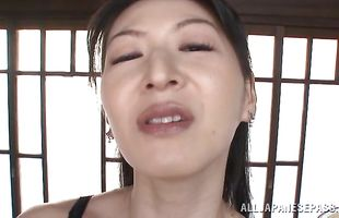 Insatiable mature gf Hitomi Oohashi can never have enough of sex so playmate needs to fuck her a lot