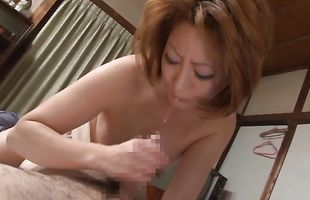 Lovely sweetheart Reiko Kagami likes having her tits sucked by fucker