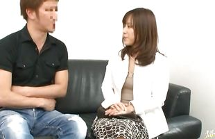 Attractive pussy tester getting dissolute busty mature Reika Yoshizawa dose of daily hard cock