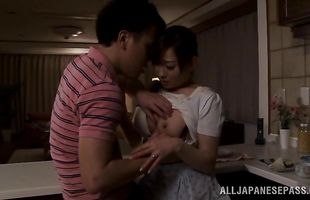 Lustful housewife Yuu Kawakami got her mouth filled up with a huge phallus