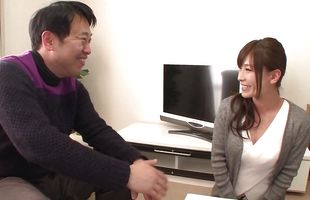 Mature Kaho Kasumi's lewd hang nicely while she sucks a pecker