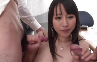 Sinful minx Rina Mayuzumi's ass is plugged while she chokes on hard cock