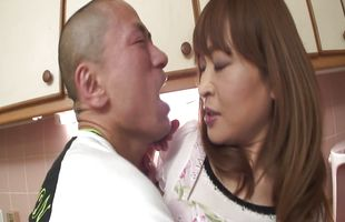 Charming mature girlfriend Hikaru Wakabayashi sucks and rides buddy's hard dick