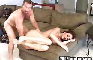Pretty mature redhead floosy Alena with curvy tits fiercely rides a firm penis
