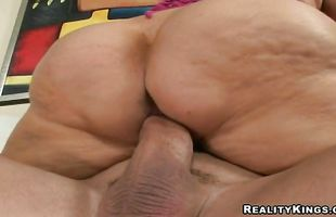 Sultry busty blonde mature Samantha 38g gives dude a sensual bj before riding his meat member